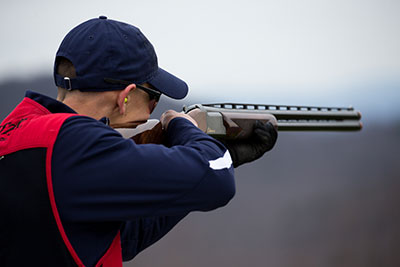 A Liberty University shooting sports team member practices at the Liberty Mountain Gun Club.