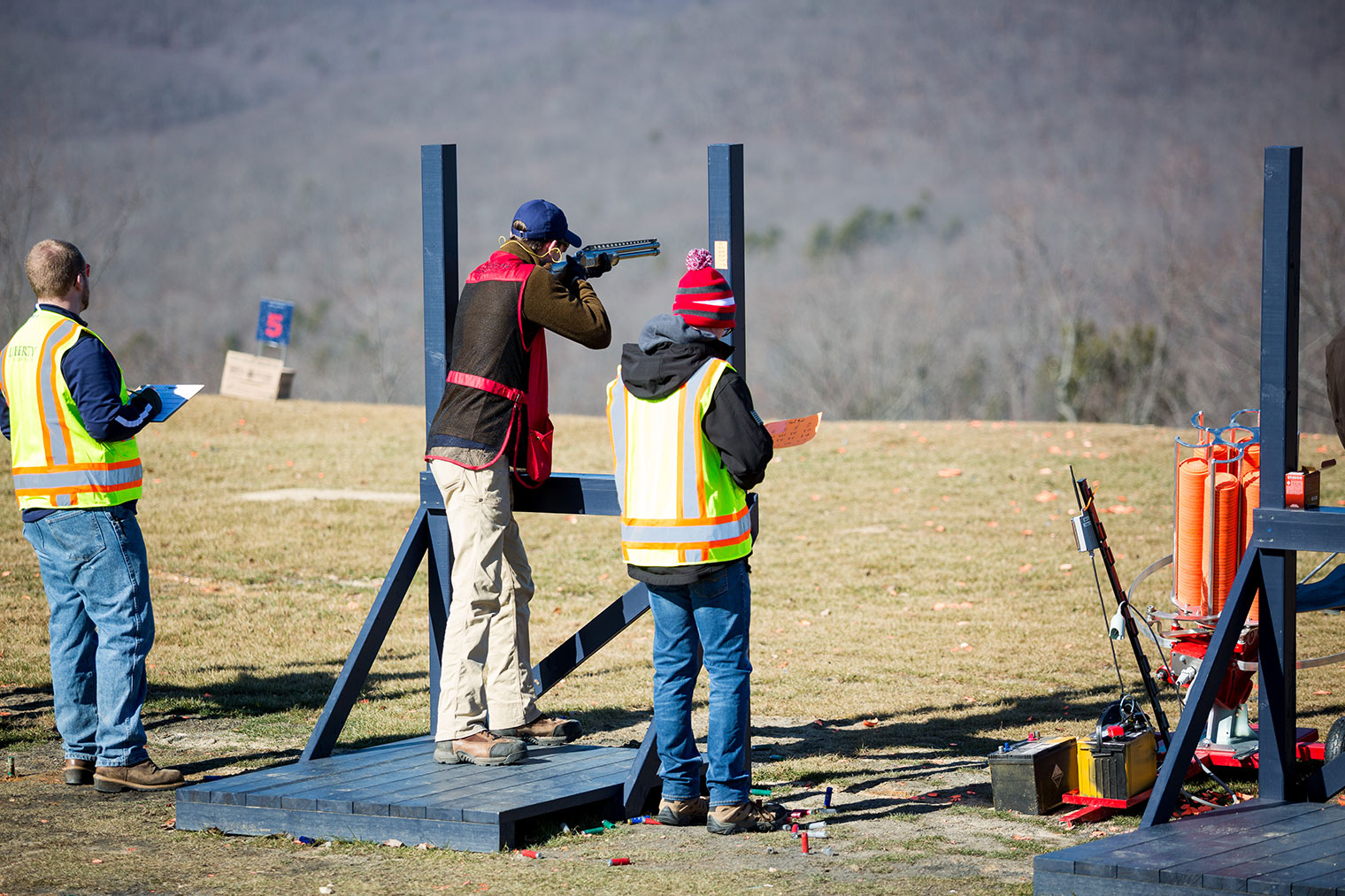 A Liberty University shooting sports team member practices on the five-stand station. (Photo by Nathan Spencer)