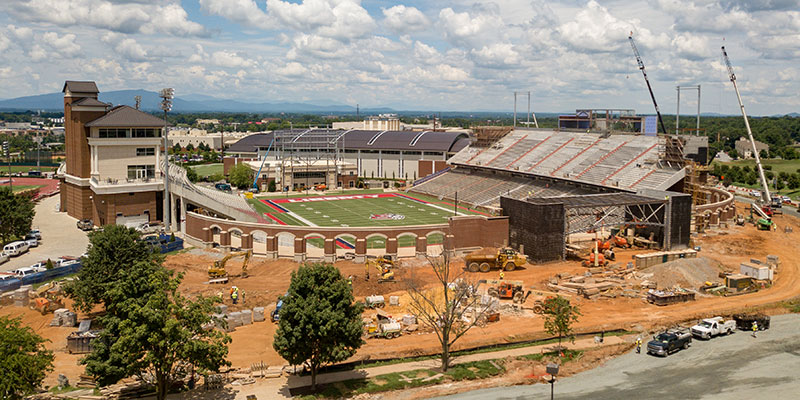Renovations to enclose the South end of Williams Stadium are ongoing. (Photo by Kevin Manguiob)