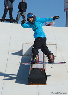 Louie Vito practices on one of the box features at Liberty Mountain Snowflex Centre.