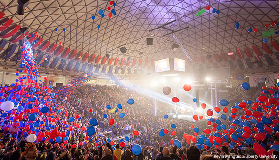 Winterfest rung in 2014 with baloons dropping from the ceiling at the Vines Center.