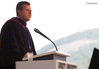 Falwell addresses the graduation crowd