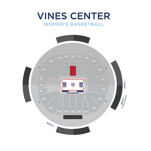 Women's Basketball Reserved Seating Map