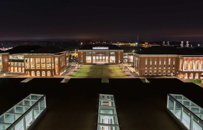 Top of Demoss at night