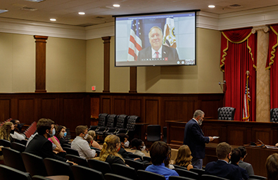 Secretary of State Mike Pompeo holds special session with Liberty University Debate Team