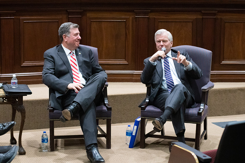 Former Virginia Govs. George Allen, Bob McDonnell remind law, government students to remain humble and serve