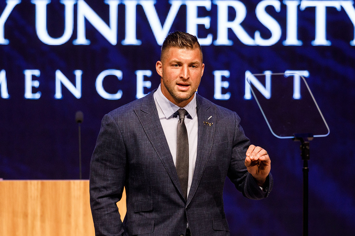 Tim Tebow implores students to view their work as worship at Liberty's 48th main Commencement ceremony