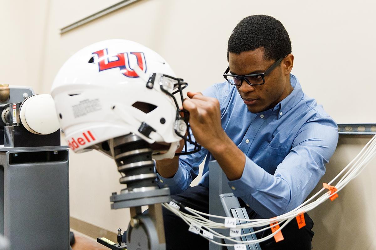 Engineering students advance prototype for NFL Helmet Challenge