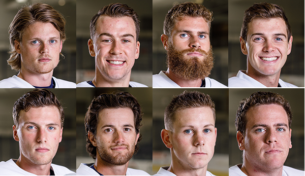 Flames DI men's hockey senior forwards (from top left) Victor Blomberg, Jordan Bochinski, Andy Clarke, and Cody Clarke, senior forwards Cole Gammer (bottom left) and Josh Hamilton and senior defensemen Garrett Nelson and Basil Reynolds are ACHA Division I men's hockey Academic All-Americans.  test test test test