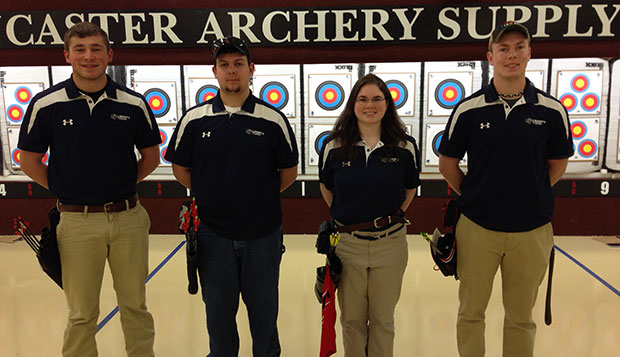 Liberty sophomore Michael Dunn (from left), sophomore Ian Rigney, senior Marissa Scalzo, and junior Hunter Jacobs competed in Saturday's and Sunday's USCA Indoor Nationals.  test test test test