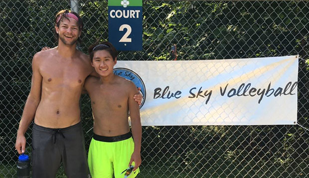 Sam Eisbrenner (left) and David Hong took first in the Men's AA Division at the Blue Sky beach volleyball tournament this past weekend. test test test test