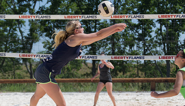 Carly Lagerquist (left) and Lady Flames teammate Carol Bertholino, shown competing at the May 30 Liberty Open, placed fifth in the A division of the June 6 tournament in Virginia Beach. test test test test