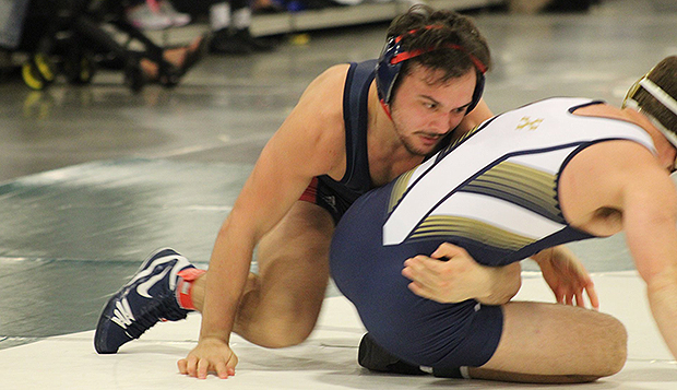 Flames junior Chad Cantrell rallied to win his 157-pound match, starting the momentum shift in Liberty's 25-14 quarterfinal win over Averett. (Photo courtesy of Sherry Richmond)  test test test test