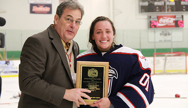 Chantal Lischynski, shown receiving the ACHA Division I Women's National Championship Tournament MVP award last March in York, Pa., will travel to Boston July 23-27 for an international camp tryout for the new NWHL. test test test test