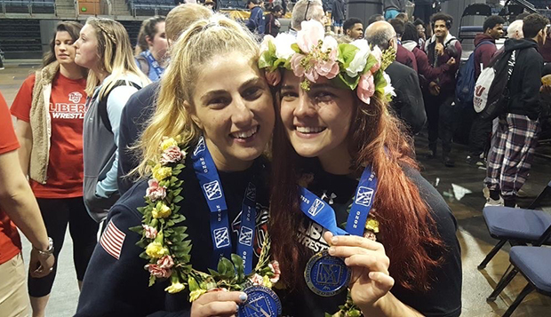 Charisse Manley (left) poses with younger sister Cendall after the NCWA Grand National tournament in Texas in March. test test test test