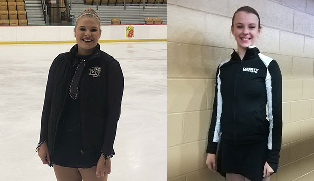 Chelsea Henry (left) and Angela Bosher competed at the U.S. Figure Skating Collegiate National Championships in Michigan. test test test test