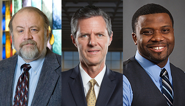 The first three members of the Club Sports Hall of Fame, Dr. Gary Habermas (from left), President Jerry Falwell, and Johnathan Willis, will be inducted on Dec. 5. test test test test
