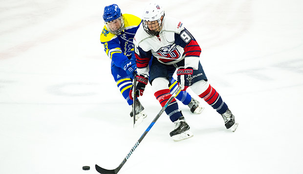 Freshman forward Cole Gammer scored the game-tying goal five minutes into the third period of Saturday's ESCHL semifinal against Delaware. (Photo by Andrew Snyder) test test test test