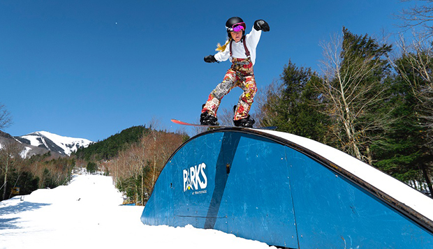 Freshman Coleen Leja rides a park feature in Tuesday's women's snowboard Rail Jam. (Photo courtesy of Isaac Gibson) test test test test