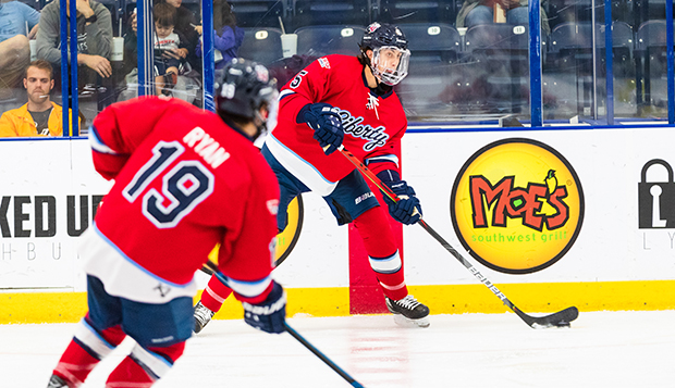 Freshman defenseman Colin Baird scored Liberty's first goal and senior forward Quinn Ryan added two goals and three assists in Saturday's rematch at Alabama. (Photo by Andrew Snyder) test test test test