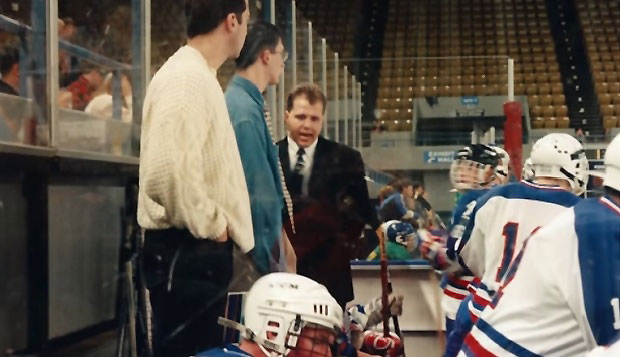 Corrado Puglisi (right) coaches the Flames during a game at the Roanoke Civic Center, their home until the 2006 opening of the LaHaye Ice Center. test test test test