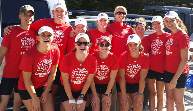Members of Liberty's top two varsity women's fours and first-year Head Coach Debbie Prowse pose for a team picture at Saturday's regatta in Occoquan, Va. test test test test