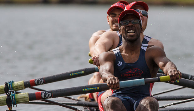Mitch Dieurdonne anchors Liberty's men's varsity four, which overcame a narrow setback against Virginia Tech last weekend in Tennessee to win the rematch in another tight race. test test test test