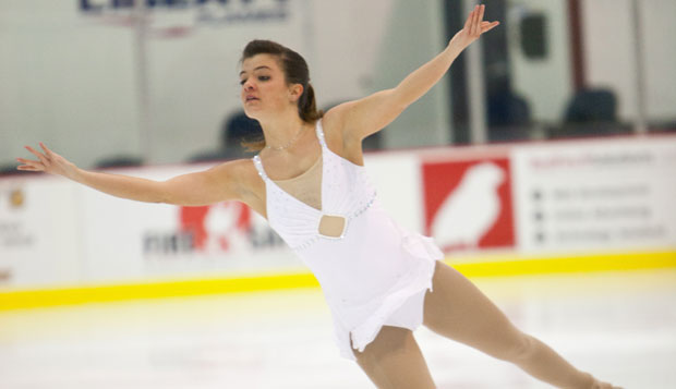 Senior Nicole Hofmeister earned a silver medal in junior ladies free skating in the Eastern Intercollegiate figure skating competition at the Ice Center over the weekend. test test test test