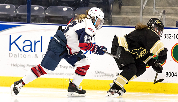 Junior defenseman Dana McLeod skates against Colorado in the first game of the Liberty Showcase at the LaHaye Ice Center. (Photos by Joel Isimeme) test test test test