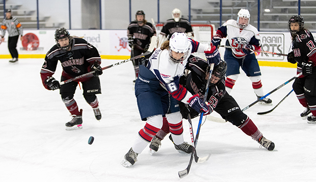 Junior forward Danica Polson, shown battling the Lynx on her home ice last season, scored Liberty's first goal Friday. (Photo by Kevin Manguiob) test test test test