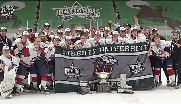 The Lady Flames celebrate their third ACHA DI national title in the past five seasons after Sunday's 5-2 victory over the Lynx. test test test test