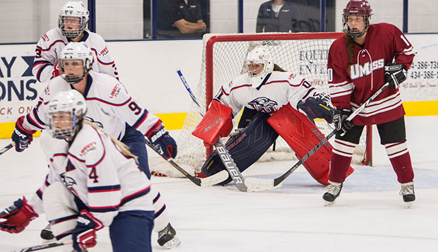 Senior Chantal Lischynski started in goal for the Lady Flames' 4-1 win over Massachusetts, Oct. 3 at the LaHaye Ice Center. test test test test