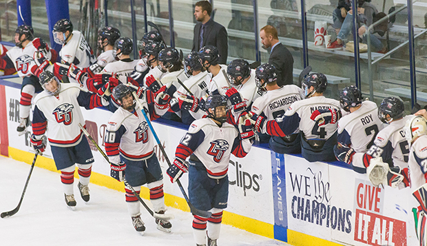 Liberty's bench celebrates a goal against Maryland on Friday night at the LaHaye Ice Center. (Photos by Joel Isimeme) test test test test