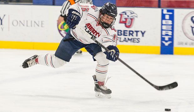 Liberty junior forward Peter Kazmierczak skates up the LaHaye Ice Center rink in a game against Pittsburgh last semester. test test test test