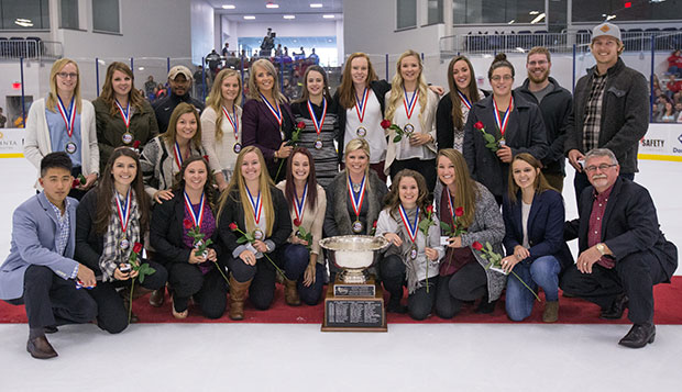 Liberty's DI women's hockey team celebrated last spring's national championship during a ceremony held at the first intermission of the DI men's game on Saturday. test test test test