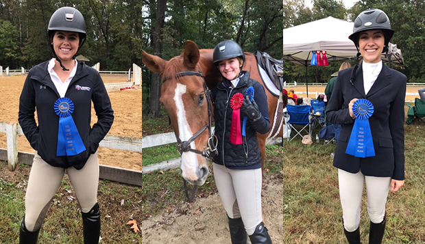 Freshman Mackenzie Barton (left) and juniors Amber Gayheart and Meagan Brandt won first-place ribbons Saturday at VCU.  test test test test