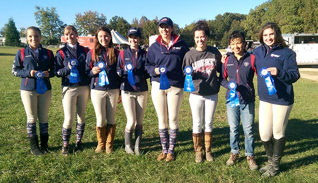 Liberty's blue ribbon winners from weekend shows at High Point and Elon (from left) Annalise Luckey, Leah Wright, Zoe Lepke, Becca Oldham, Courtney Kerns, Heather Meade, Cassy Steptoe, and Michal White. test test test test