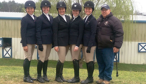 Five Lady Flames qualified for Sunday's Hunter Seat Regional Finals (from left): Cassandra Steptoe, Leah Wright, Brittany Kimmel, Liz Chenelle, and Zoe Leppke, pictured with Head Coach Jim Arrigon (right). test test test test