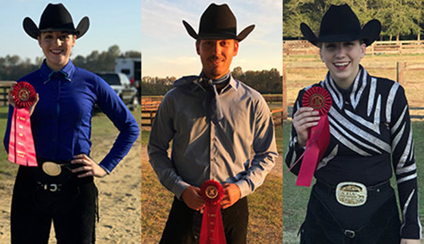 Liberty freshman Hannah Cole, senior Nate Bult, and junior Erin Mays sport their red ribbons for runner-up showings at Sunday's Western show hosted by team champion St. Andrews (N.C.) test test test test
