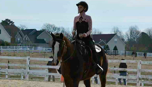 Lady Flames Beginner rider Kaitlyn Quesinberry won two blue ribbons over the weekend, competing at a Western show hosted by Campbell University. test test test test
