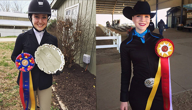 Liberty senior Hunter Seat captain Liz Chenelle (left) qualified for the April 8 Zone 4 event in the Open Flat division while sophomore Leah Ofalt advanced to the March 24-26 Western Semifinals by placing second in Intermediate Horsemanship. test test test test