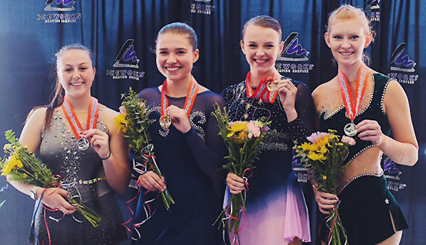 Rising junior Angela Bosher (second from right) landed on the podium with her third-place Novice division finish at the U.S. Figure Skating Collegiate National Championships in Aston, Pa. test test test test