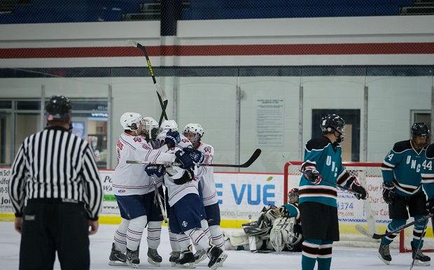 Liberty celebrates a goal Sept. 28 at the LaHaye Ice Center against UNC Wilmington, which moved up from the No. 11 to No. 6 seed for next weekend's ACHA DIII South Regionals.  test test test test