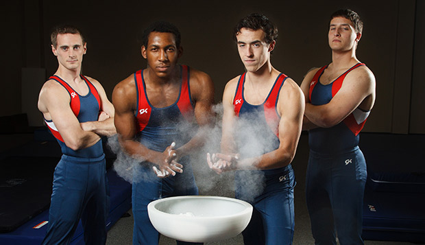 Liberty's men's team of Jonathan Baldwin (from left), Rufus Chapelle, Austin Minuto, and Cameron Streeter, is among the favorites at this Saturday's invitational. test test test test