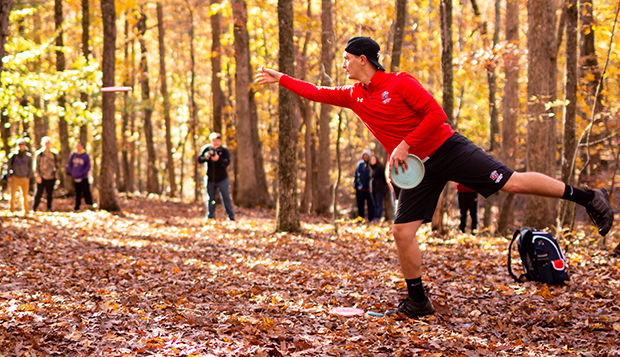 Former Liberty disc golf standout Hunter Thomas competes in the Flamethrower Invitational on Nov. 3, 2018, at the Hydaway Outdoor Recreation Center course. (Photo by Nathan Spencer) test test test test