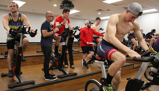Athletes compete in the cycling stage of the Jan. 19 indoor triathlon at the LaHaye Recreation and Fitness Center. test test test test