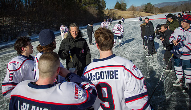 President Jerry Falwell invited Liberty's ACHA Division I men's hockey team to his farm lake in nearby Goode when it froze solidly enough to practice on it last January.  test test test test