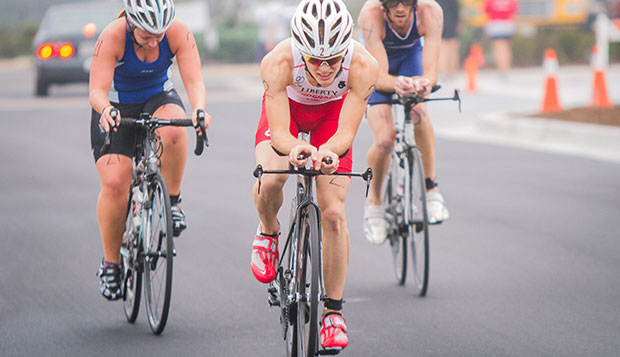 Flames junior Joey Anderson is equally strong in all three triathlon phases, as he showed in winning the first Liberty University Collegiate Triathlon on Sept. 21, 2013.    test test test test
