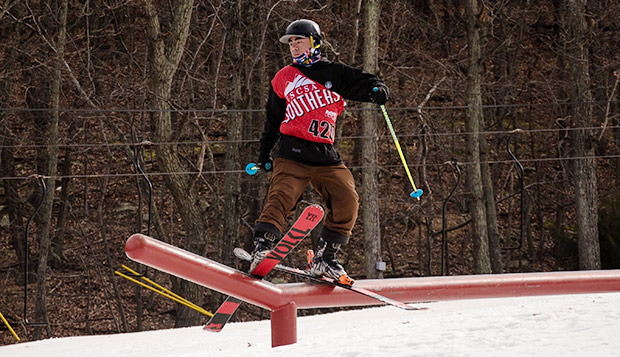Liberty senior skier Jonathan Wong placed third out of 22 contestants in the men's skiing slopestyle event. (Submitted photo by Skyler Fusco) test test test test