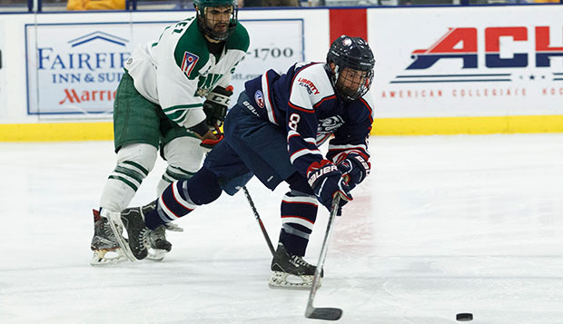 Liberty freshman forward Josh Hamilton netted the game's final goal shorthanded off an assist from freshman defenseman Basil Reynolds. (Photo by Nathan Spencer) test test test test